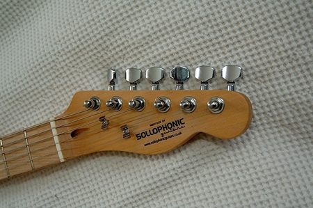 All Sollophonic guitars are fitted with bone top nuts, giving a better tone on open strings, particularly useful when using open tunings. They also have a slightly wider string spacing at the nut of 37mm instead of the usual 34- 35mm, which gives a bit more room for low end chord work. They also have a string spacing at the bridge of 55 - 57mm, giving a bit more room, for fingerstyle and fingerpick playing.